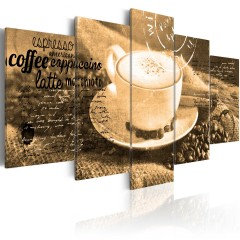 Artgeist Wandbild - Coffe, Espresso, Cappuccino, Latte machiato ... - sepia