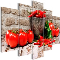 Artgeist Wandbild - Red Vegetables (5 Parts) Brick Wide
