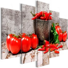 Artgeist Wandbild - Red Vegetables (5 Parts) Concrete Wide