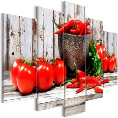 Artgeist Wandbild - Red Vegetables (5 Parts) Wood Wide