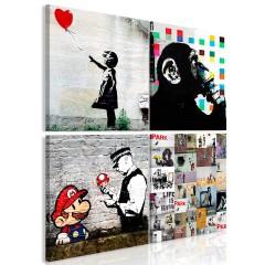Artgeist Wandbild - Banksy Collage (4 Parts)