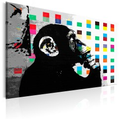 Artgeist Wandbild - Banksy The Thinker Monkey