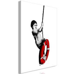 Artgeist Wandbild - Banksy: Boy on Rope (1 Part) Vertical