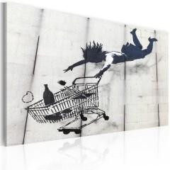 Artgeist Wandbild - Frau mit Einkaufswagen (Banksy)