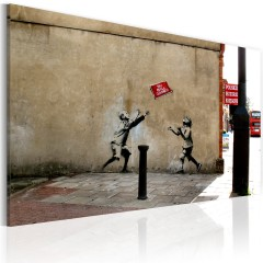 Artgeist Wandbild - Fussballspielen verboten (Banksy)