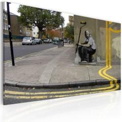 Artgeist Wandbild - Gelbe Blume (Banksy)
