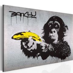 Artgeist Wandbild - Halt oder der Affe schießt! (Banksy)