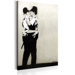 Artgeist Wandbild - Kissing Coppers by Banksy
