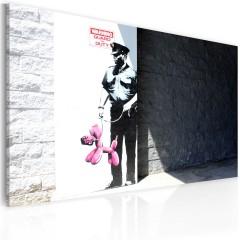 Artgeist Wandbild - Polizist und ein rosaroter Hund (Banksy)