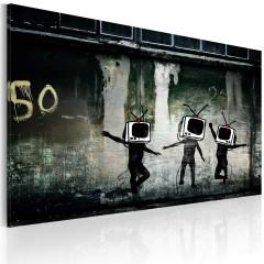 Artgeist Wandbild - Tanz der Fernsehköpfe (Banksy)
