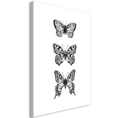Artgeist Wandbild - Three Butterflies (1 Part) Vertical