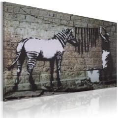 Artgeist Wandbild - Zebra waschen (Banksy)