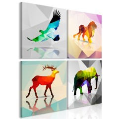 Artgeist Wandbild - Colourful Animals (4 Parts)