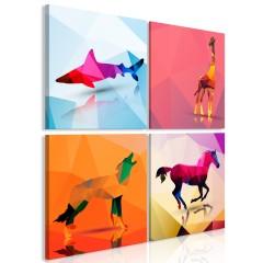 Artgeist Wandbild - Geometric Animals (4 Parts)