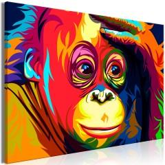Artgeist Wandbild - Colourful Orangutan (1 Part) Wide