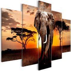 Artgeist Wandbild - Wandering Elephant (5 Parts) Wide