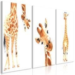Artgeist Wandbild - Funny Giraffes (3 Parts)