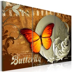 Artgeist Wandbild - Fiery butterfly and  full moon