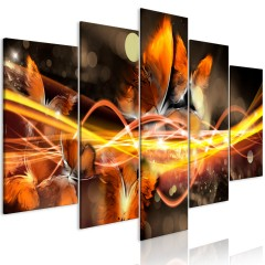 Artgeist Wandbild - Swarm of Butterflies (5 Parts) Wide Orange