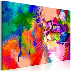 Artgeist Wandbild - Colourful Cat (1 Part) Wide