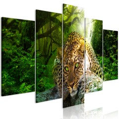 Artgeist Wandbild - Leopard Lying (5 Parts) Wide Green