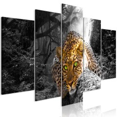 Artgeist Wandbild - Leopard Lying (5 Parts) Wide Grey