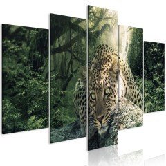 Artgeist Wandbild - Leopard Lying (5 Parts) Wide Pale Green