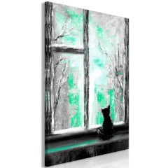 Artgeist Wandbild - Longing Kitty (1 Part) Vertical Green