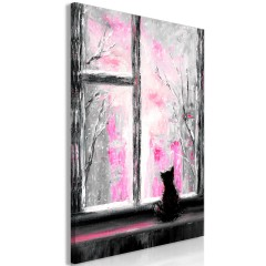 Artgeist Wandbild - Longing Kitty (1 Part) Vertical Pink