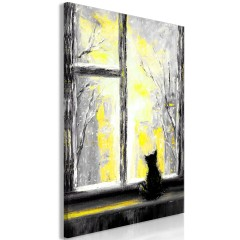 Artgeist Wandbild - Longing Kitty (1 Part) Vertical Yellow