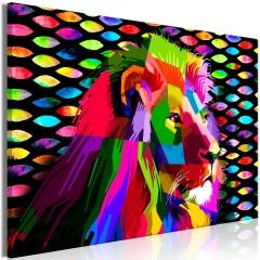 Artgeist Wandbild - Rainbow Lion (1 Part) Wide