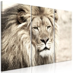 Artgeist Wandbild - The King of Beasts (3 Parts) Beige