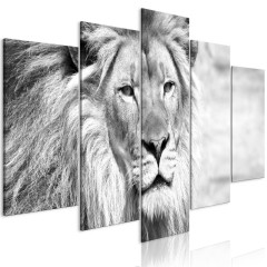 Artgeist Wandbild - The King of Beasts (5 Parts) Wide Black and White