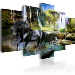 Artgeist Wandbild - Schwares Pferd vor paradisischem Wasserfall