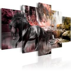 Artgeist Wandbild - Schwarze Pferd im Dunst des Wasserfalls
