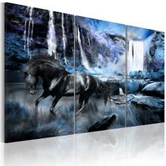 Artgeist Wandbild - Wasserfall in saphir Farben