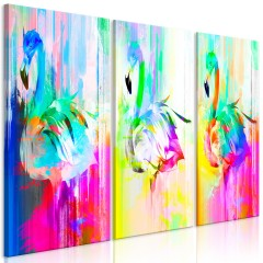 Artgeist Wandbild - Colourful Flamingos (3 Parts)