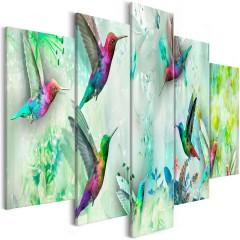 Artgeist Wandbild - Colourful Hummingbirds (5 Parts) Wide Green