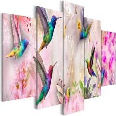 Artgeist Wandbild - Colourful Hummingbirds (5 Parts) Wide Pink