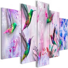Artgeist Wandbild - Colourful Hummingbirds (5 Parts) Wide Violet