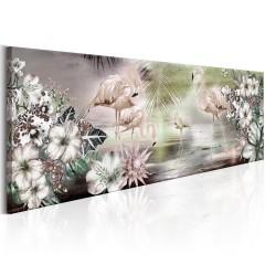 Artgeist Wandbild - Flamingoes and Flowers