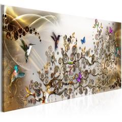 Artgeist Wandbild - Hummingbirds Dance (1 Part) Gold Narrow