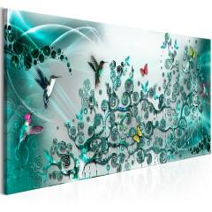 Artgeist Wandbild - Hummingbirds Dance (1 Part) Turquoise Narrow