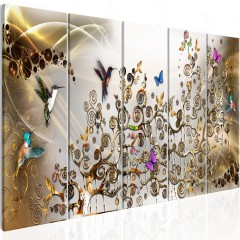 Artgeist Wandbild - Hummingbirds Dance (5 Parts) Gold Narrow