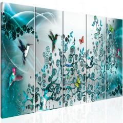 Artgeist Wandbild - Hummingbirds Dance (5 Parts) Turquoise Narrow