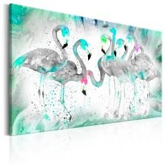 Artgeist Wandbild - Turquoise Flamingoes
