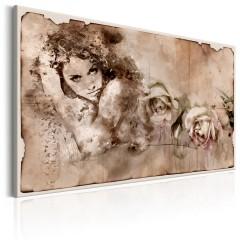 Artgeist Wandbild - Retro Style: Woman and Roses