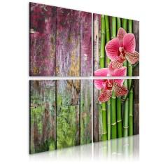 Artgeist Wandbild - Bambus und Orchidee