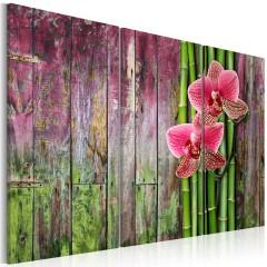 Artgeist Wandbild - Blüten und Bambus