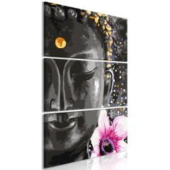 Artgeist Wandbild - Buddha and Flower (3 Parts) Vertical